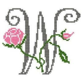 motif-Point de croix-Abc Rose anglaise-W