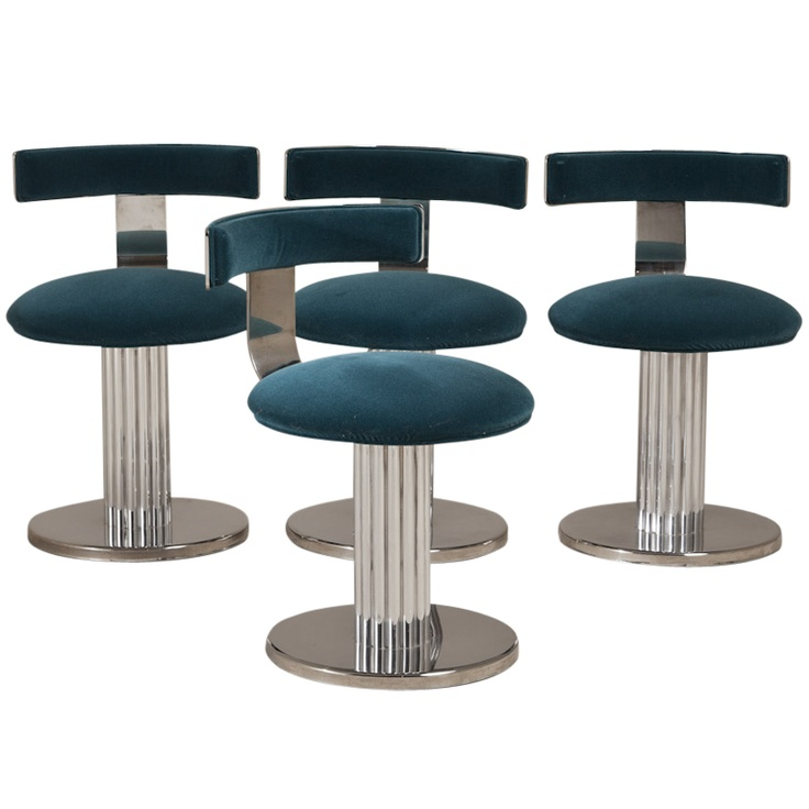 A Set Of Four Swivel Dining Chairs 1960s Seating
