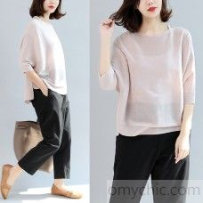 summer pink cotton t shirt oversize pullover batwing sleeve tops