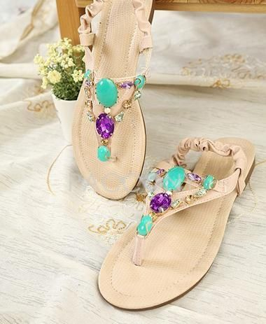 2013 Fashion Bohemian Style Flat Heels Thong Scandals With Diamond