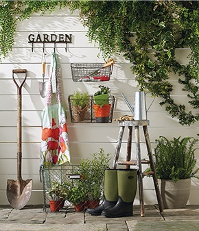 A unique backyard idea from HomeSense – turn an exterior wall into a stylish and functional display.