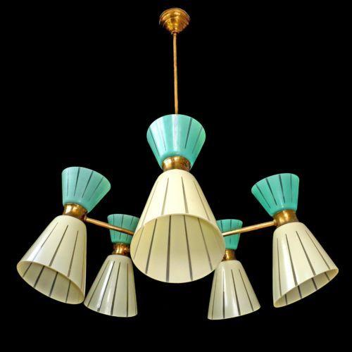 Rare 10 Light Vintage 1960 Mid-Century Italian Modernist Stilnovo Era Chandelier in Antiques, Architectural & Garden, Chandeliers, Fixtures, Sconces | eBay