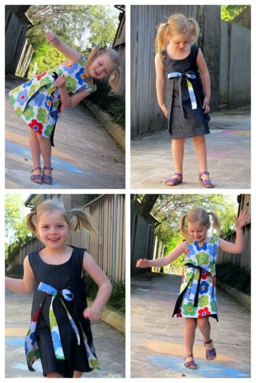 Reversible wrap dress Free Tutorial and pattern. This is exactly what I have been wanting for my girls! I even have the perfect fabric in my stash already :)