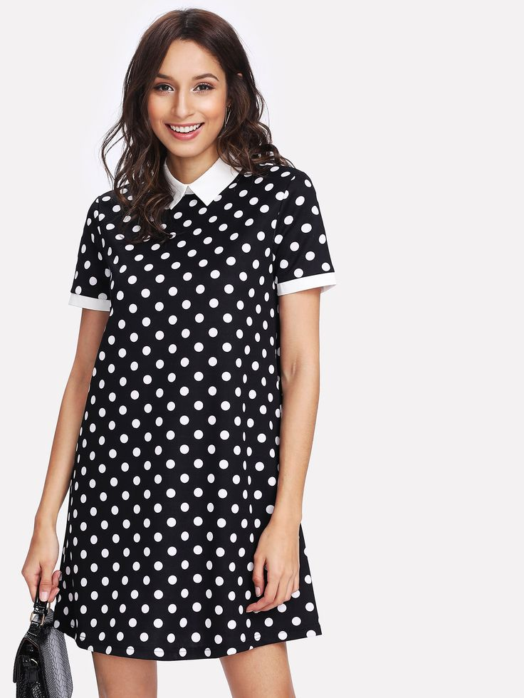 Shop Contrast Collar Polka Dot Dress online. SheIn offers Contrast Collar Polka Dot Dress & more to fit your fashionable needs.