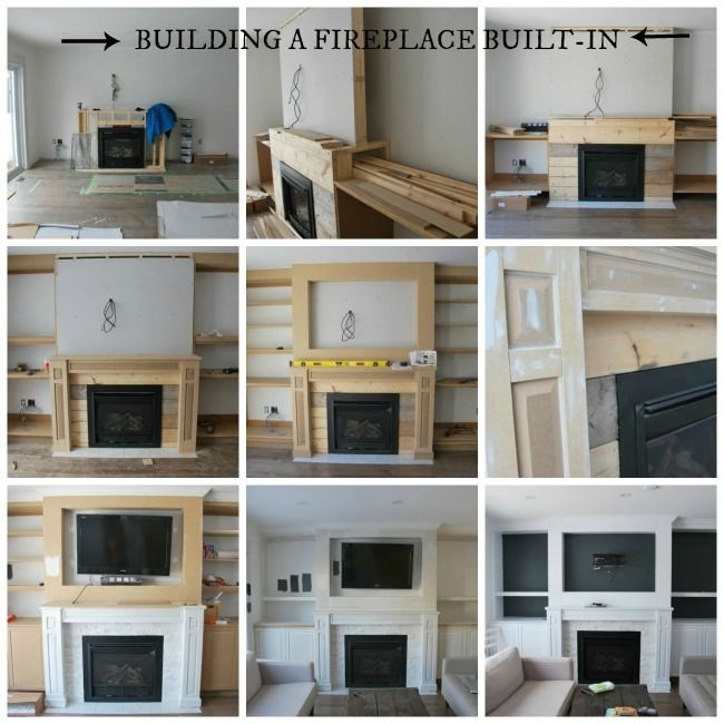 How to build a beautiful fireplace built ins with shelving, cupboards, mantle, and recessed spot for the TV! - via the sweetest