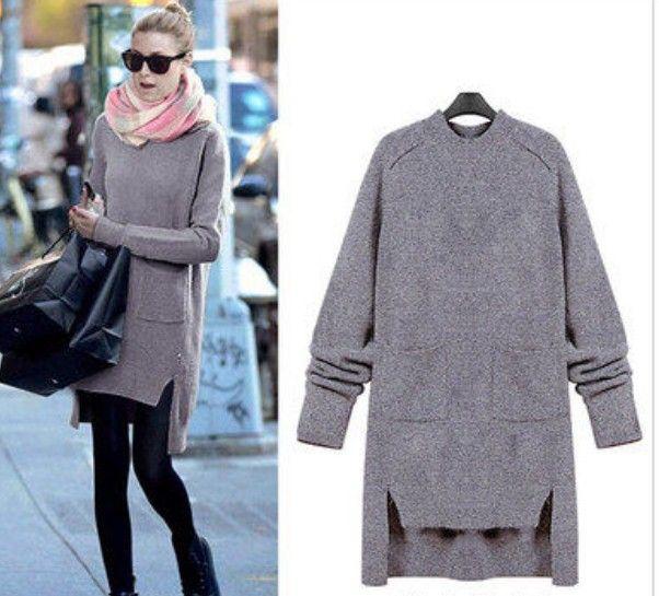 2140065 Платье-свитер. Материал: акрил. Размер: (бюст, длина см) L (89, 79) | Вязаные платья