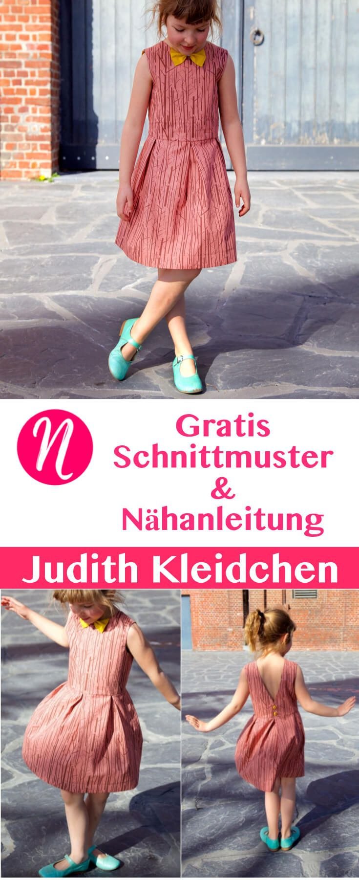 Einfaches Kleid für Mädchen - für 1 - 10 Jahre - Freebook ❤ PDF zum Ausdrucken - DIY - selber nähen ✂ Nähtalente.de - Magazin für kostenlose Schnittmuster ✂ Free sewing pattern for a girls dress vom 1 - 10 years. Freebook PDF-pattern for printing at home.