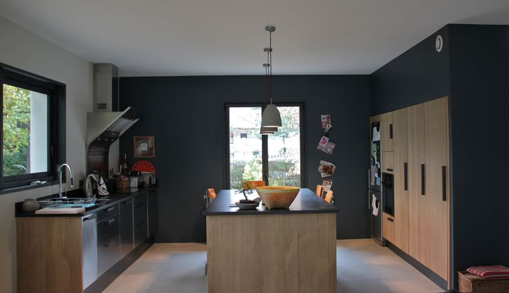 ... Deco Kitchen, Cuisine Bois Noir, Cuisine Design, Home Decor, Kitchen