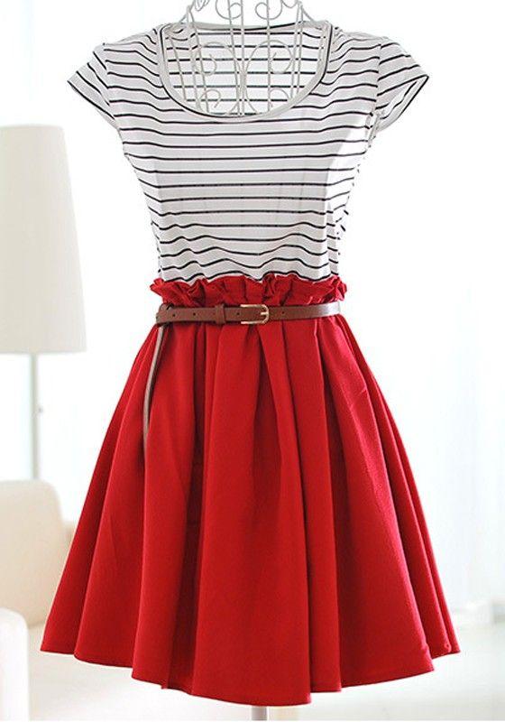 Wine Patchwork Striped Pleated Short Sleeve Dacron DressSKU:  10107675221 $32.26 www.cichic.com