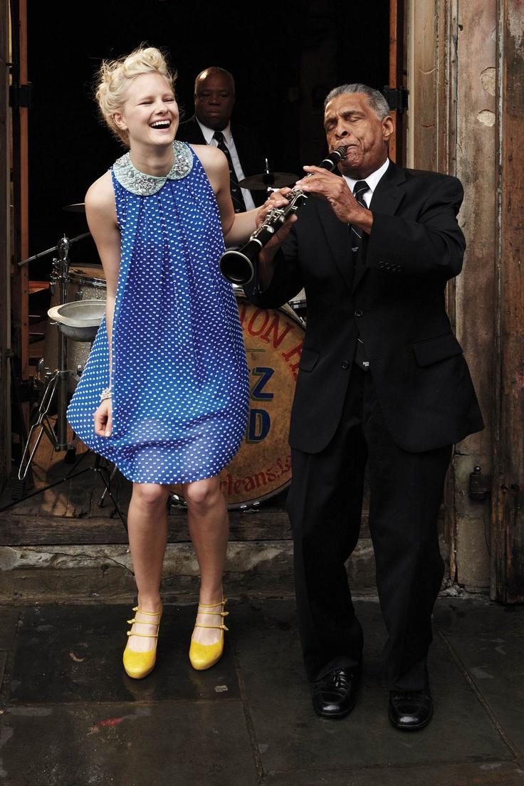 #Anthropologie #FlockedCobaltDress: New Orleans, Birthday Dresses, Polka Dots Dresses, Cobalt Blue, Yellow Shoes, The Dresses, July 2012, Bibs Necklaces, Cobalt Dresses