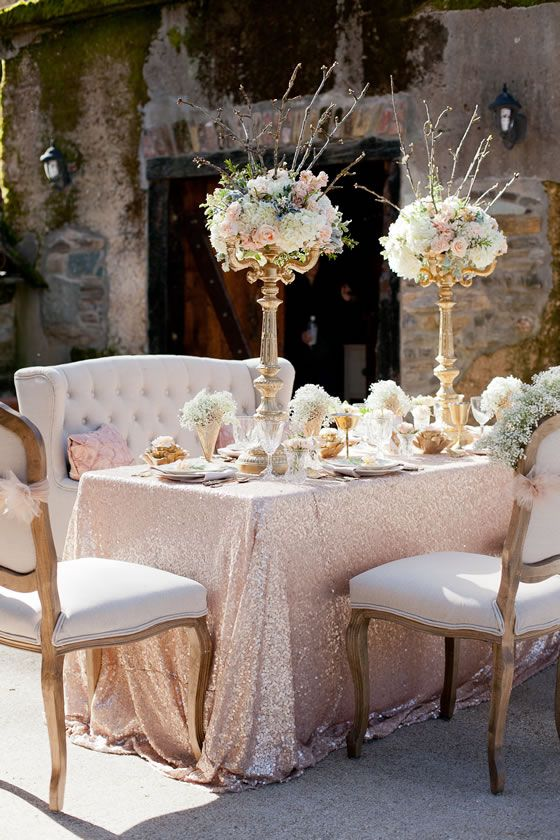 Bride And Groom Table  Reception Inspiration: Beautiful Blush Sequin Table  Cloth, Tall Flower Arrangements, Soft Color Scheme.