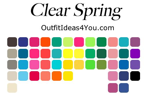 bright/clear spring color palette; I wish the color analysis squad would stop defining groups by eye color - all dark-eyed women are not winters!