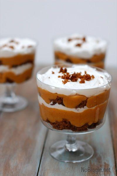 Mini pumpkin gingerbread trifles. Easy & impressive fall dessert. (from No Biggie)