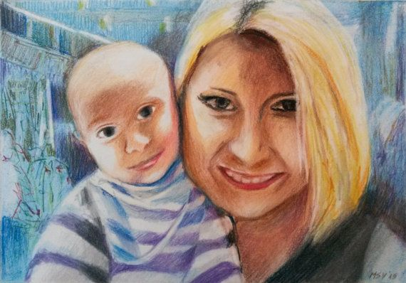 Custom MOTHER  BABY #Portrait Drawing by BabyPortraitArt on Etsy. A #mother and her #baby, #smiling, surprised at the terrace.  A backlight which creates a #special atmosphere, shown in faded #pastels. https://www.facebook.com/babyportraitart