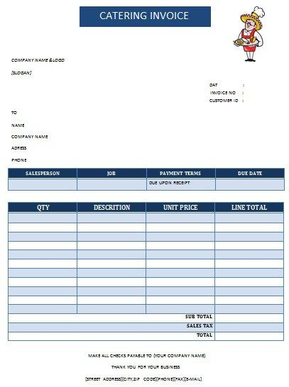 30 best Catering Invoice Templates images on Pinterest Invoice - Invoice Template Excel 2010