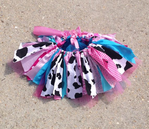 Pink and turquoise cowgirl tutu, barnyard birthday, Cowgirl costume - cowgirl tutu - Cowgirl birthday Tutu, shabby chic fabric tutu skirt