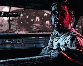 Poster Illustration Carhartt Ads Guarni Benjamin Güdel Mode Krimi Gangster Auto Film Nacht Comic Kunst dunkel