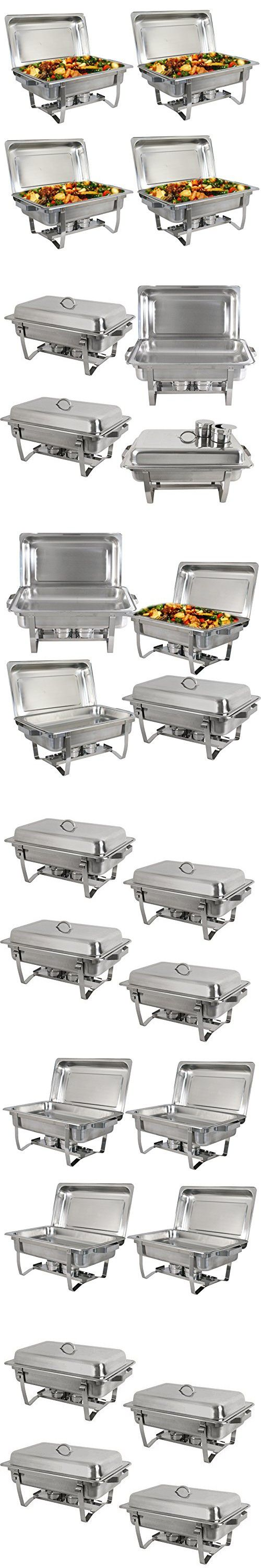 F2C Four (4) Pack of 8 Quart Stainless Steel chafingdish Rectangular Chafing Dish Full Size New (4 pack)