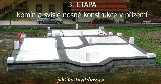 3. ETAPA | KOMÍN A SVISLÉ NOSNÉ KONSTRUKCE | Založení rohů stavby