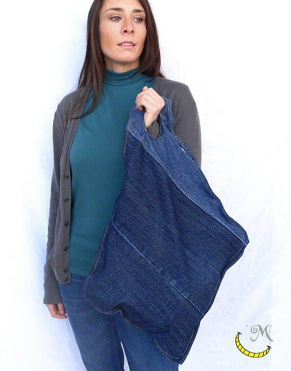 Borsa di tessuto denim con manici  top handle  borsa design