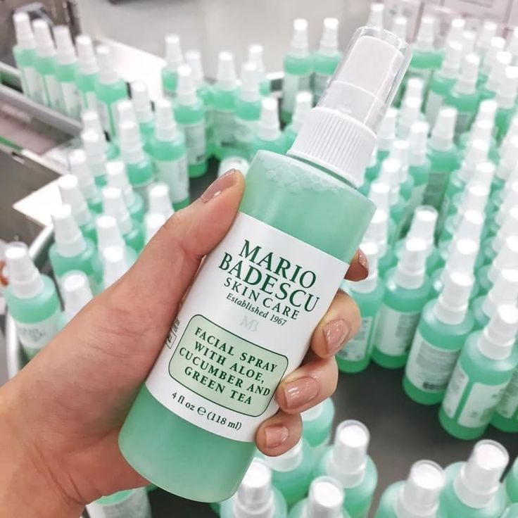 """""""I love the Mario Badescu facial spray with aloe. It's $7 for the 4 ounce bo…"""