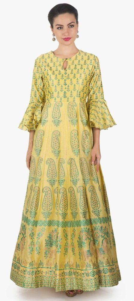 472fd313432c3f Indian Bollywood Designer indo western gown Kurta Kurti women ethnic dress  -re05  Handmade  kurta  casualpartywear