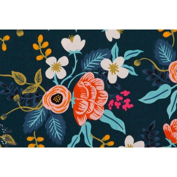 Viscose Birch Floral Navy bleu marine fleur riffle paper co cotton steel