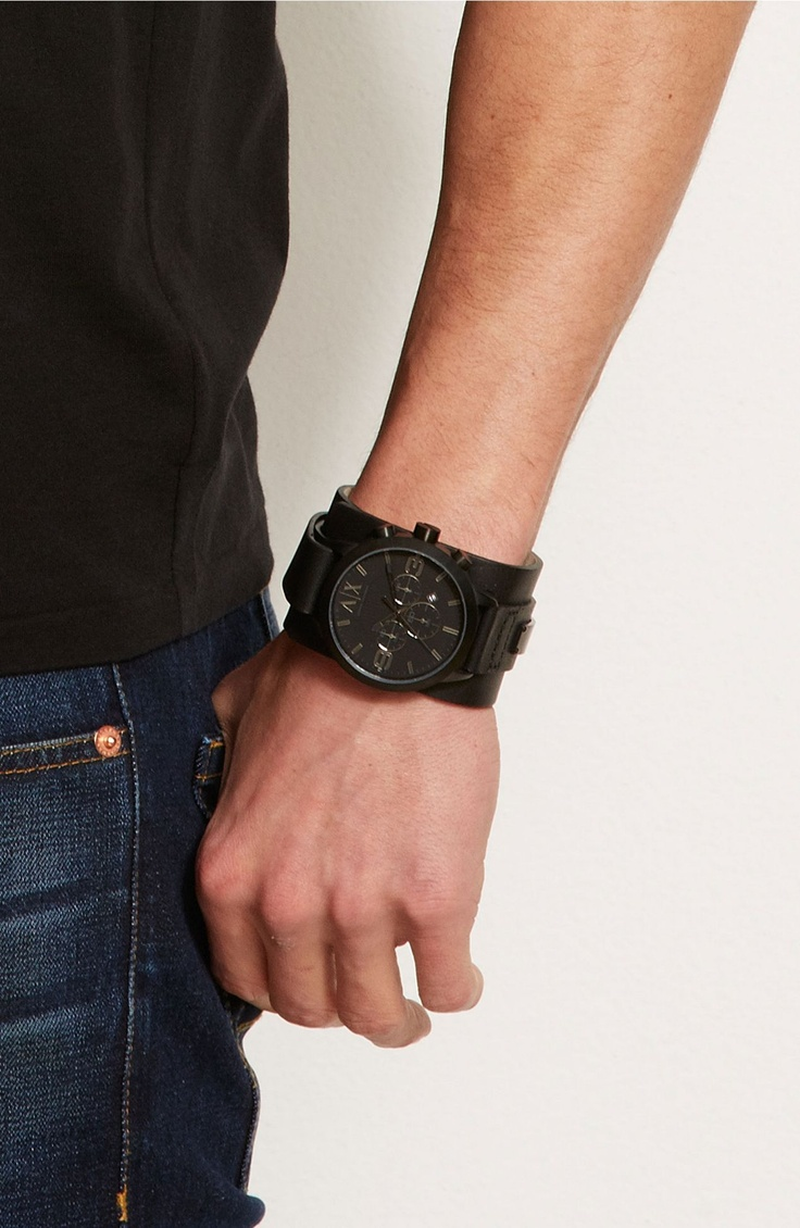 Armani exchange black leather gloves - Armani Exchange Black Leather Cuff Watch