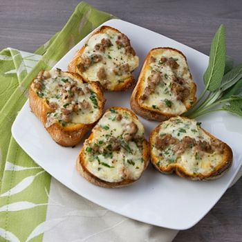 Bruschetta With Melted Cheese, Sausage & Sage -- Try this Italian inspired delight as a snack, appetizer or an entrée.