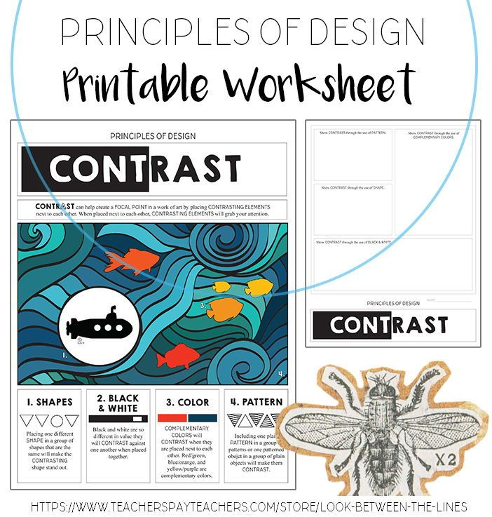 Teach Your Students About The Principle Of Design Contrast Through This Printable Works Principles Of Design Principles Of Design Contrast Visual Art Teacher Principles of design worksheet