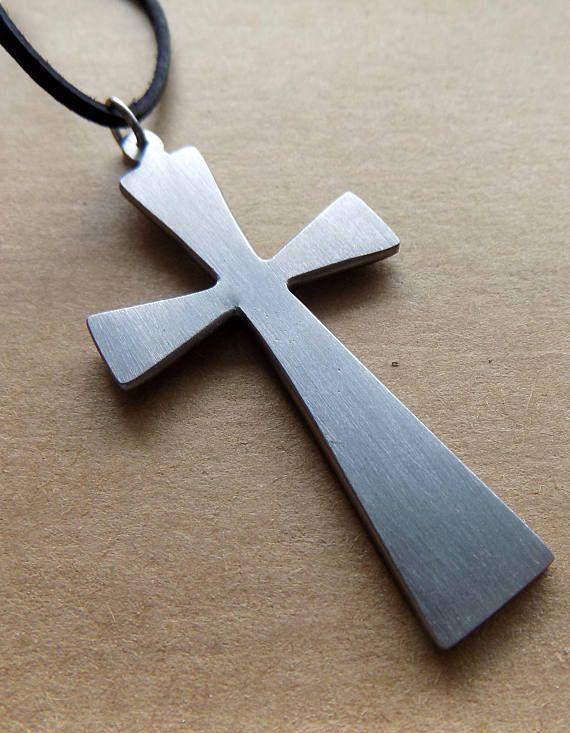 Metal cross vintage pendant hand lathed handmade in