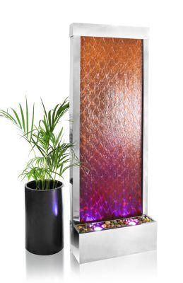 Verweerde Waterwand van Corten- en RVS Staal met Led-verlichting - H1,74m