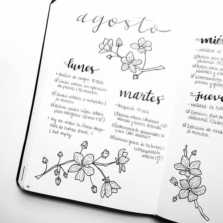 although we are already in september, here's an august weekly spread Esa semana intenté probar un estilo en blanco y negro y así me quedó