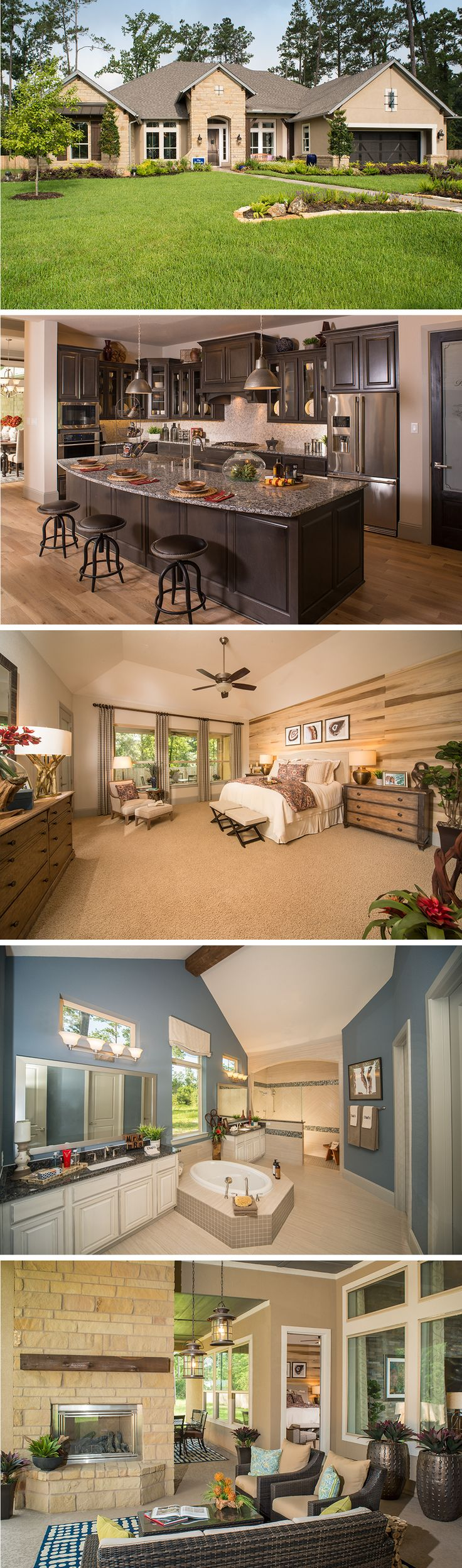 The Woodside by David Weekley Homes in Mostyn Manor Reserve is a 3 or 4 bedroom floorplan that features a sunroom, a large covered porch and a 3 car garage. Custom home upgrades include an extended outdoor living space, a bay window in the owners retreat, or a bonus room on the 2nd story.