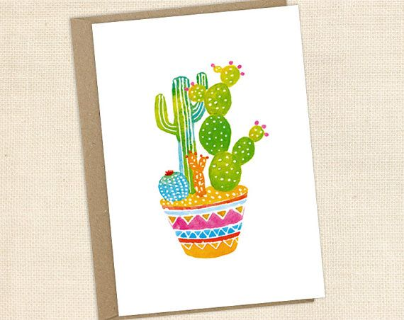 Blank greeting card  watercolour cactus by DesignDraft on Etsy