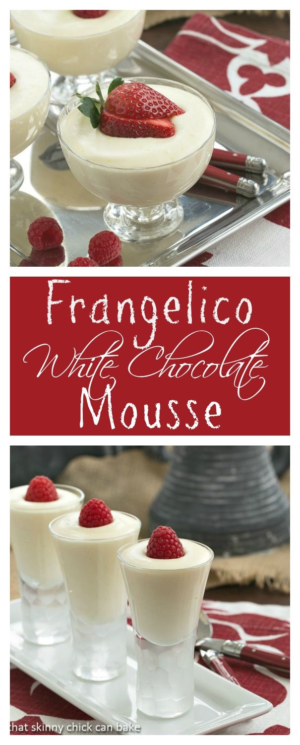Luscious White Chocolate Mousse with Hazelnut Liqueur | Perfect way to end a special meal! from thatskinnychickcanbake.com @lizzydo
