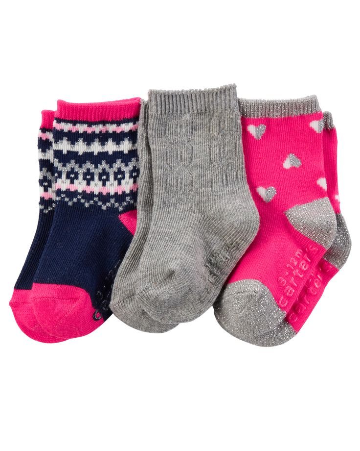 Baby socks keep tiny toes warm and dry inside a cute pair of shoes. Try a colorful multipack to add some fun contrast to a plain pair of sneakers. Bold stripes and animal designs make an everyday pair of ankle socks feel more special.
