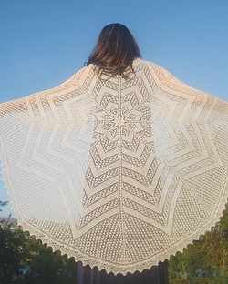 This beauty is the Circle of Life Shawl and is published by Fiber Trends. I think it is just lovely!    Our good friend Anne at Keowna Yarn and Needlecraft showed it to me a while back and I thought I'd revisit it. Like the previous posts, I do love that this shawl is so large. I also love that it is a circular shawl, I haven't made one of those yet.    I have a few more options to come so stay tuned.    Happy Knitting!