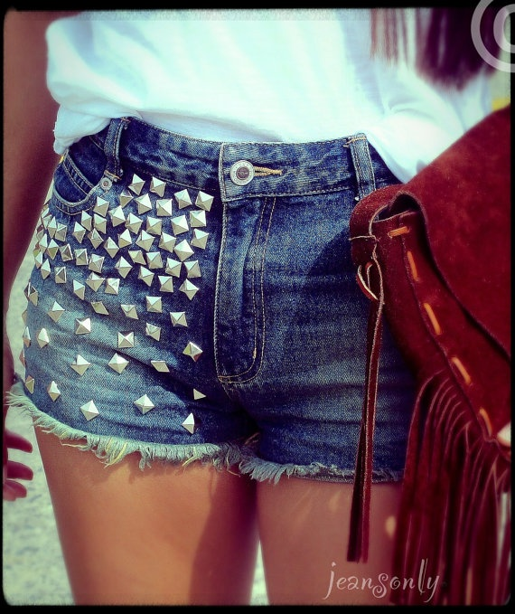 Vintage high waisted studded denim shorts by by Jeansonly on Etsy, $39.99