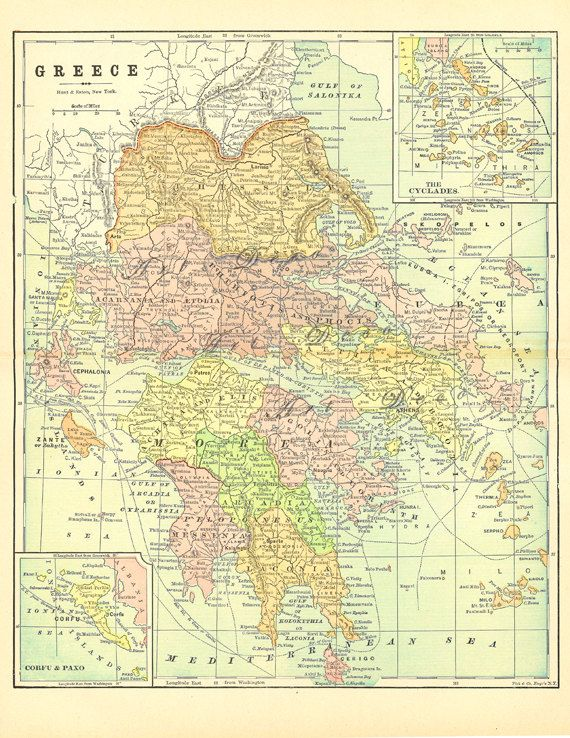 old map of Greece from 1904, a good source for printable digital maps.