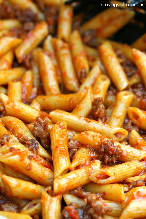 Roasted Red Pepper Pasta with Italian Sausage. Nothing more glorious than a sauced-up, comforting pasta dish.