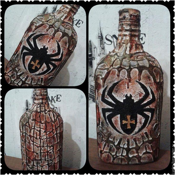 """Купить Бутылка """"Паук""""-2 (Хэллоуин) - комбинированный, паук, бутылка декоративная, бутылка в подарок, Хэллоуин"""