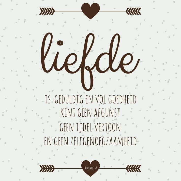 De liefde is geduldig en vol goedheid. De liefde kent geen afgunst, geen ijdel vertoon en geen zelfgenoegzaamheid. 1 Korintiërs 13:4  #Geduld, #Liefde  http://www.dagelijksebroodkruimels.nl/1-korintiers-13-4/