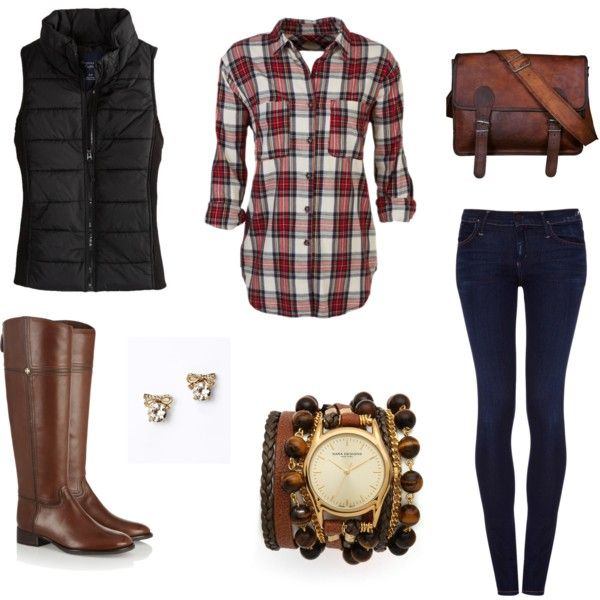 plaid shirt, solid vest, skinny jeans, and brown boots