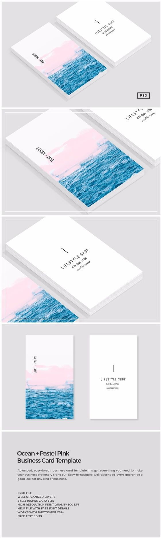 Ocean + Pink Business Card Template by Design Co. on @creativemarket: