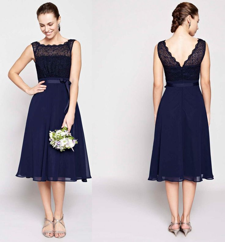 A Line Tea Length Bridesmaid Dresses Chiffon Scoop Sleeveless Hot Sale Lace Beautiful Bowknot Backless Sash Modern Bridesmaid Gowns Black Chiffon Bridesmaid Dresses Bridesmaid Dress Cheap From Loveforshop, $55.28| Dhgate.Com