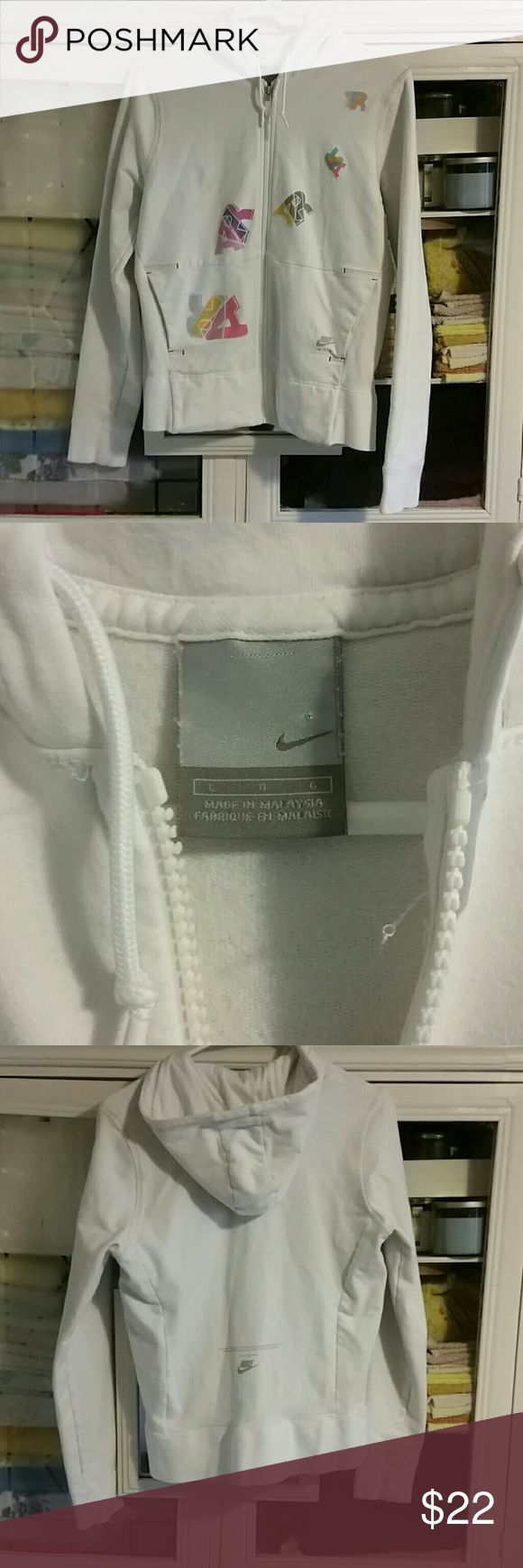 White nike zip up hoodie size large White nike zip up hoodie size large Nike Jackets & Coats