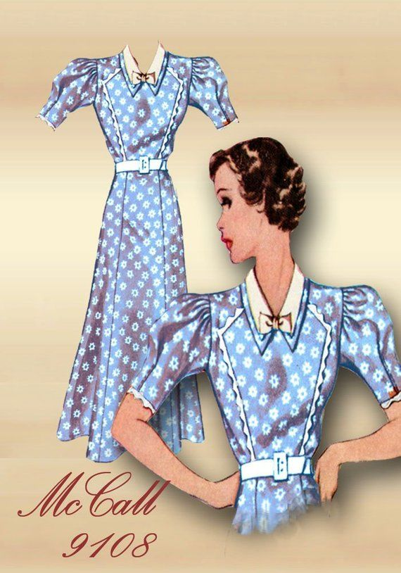 e83c6c93c0e14 1930s McCall Dress Pattern * Day Dress Unique Bodice with Angular Seams and  Piping Detail Double Collar Puff Sleeves Bust 35 McCall 9108