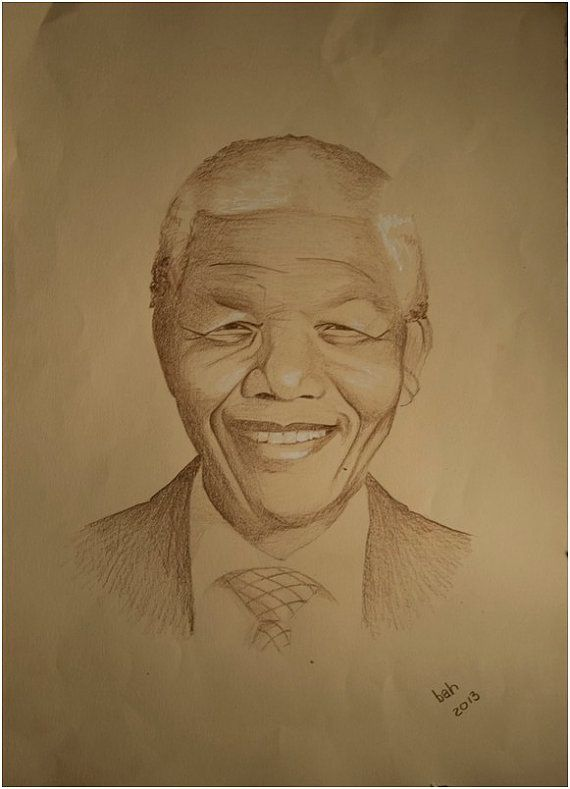 Nelson Mandela, original pencil drawing, brown on corn colored paper, smiling, tranquility