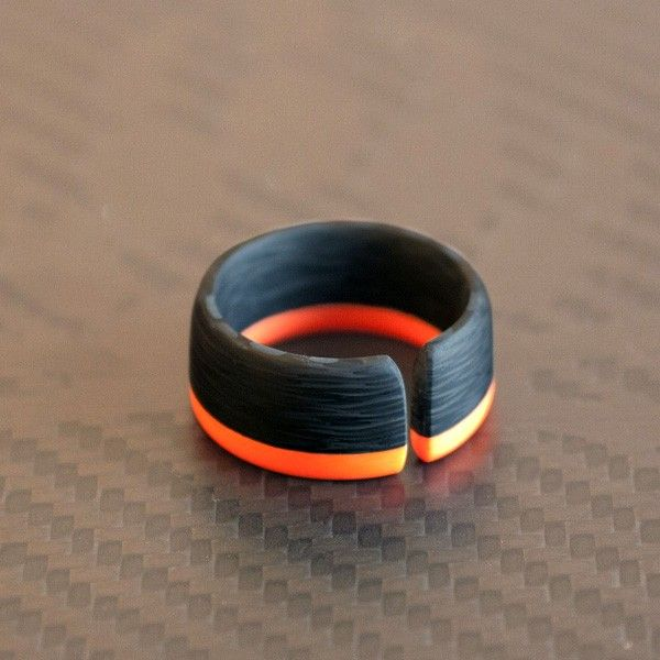 Tron Inspired Men's Ring   [custom milled from Corian & carbon fiber]  by James Thompson
